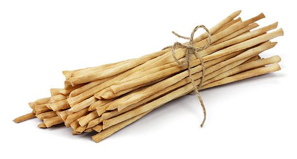 Crispy crunchy long breadsticks stock photo