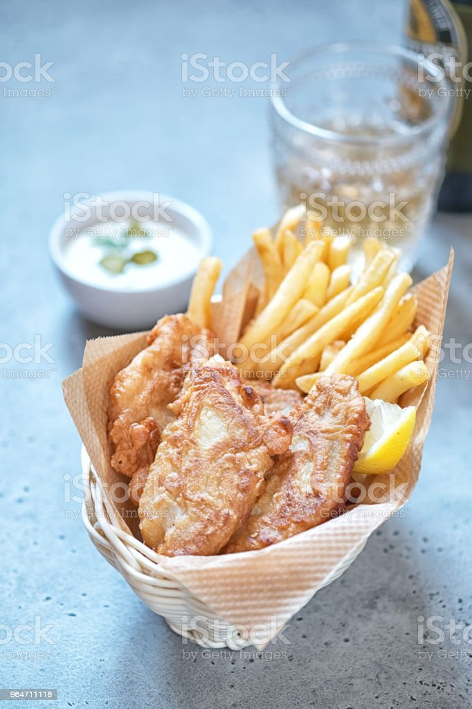 crispy fish and chips basket royalty-free stock photo
