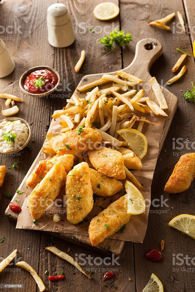 Crispy Fish and Chips stock photo