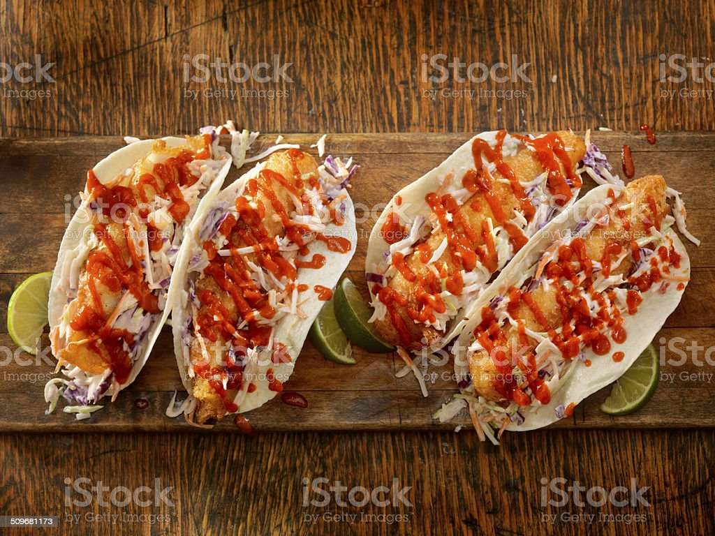 Crispy Fish Tacos stock photo