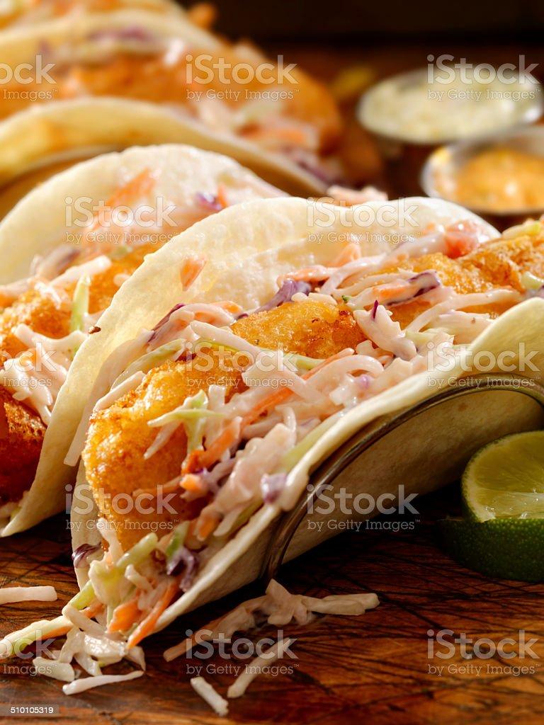 Crispy Fish Tacos stock photo