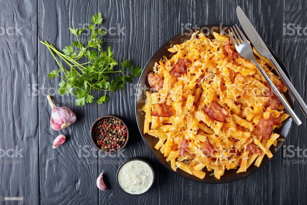Crispy french fries smothered in melted cheese zbiór zdjęć royalty-free