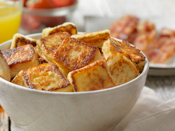 Crispy French Toast Bites with Maple Syrup stock photo