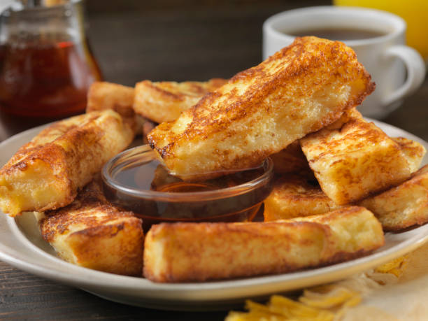 crispy french toast fingers with maple syrup - sticky stock pictures, royalty-free photos & images