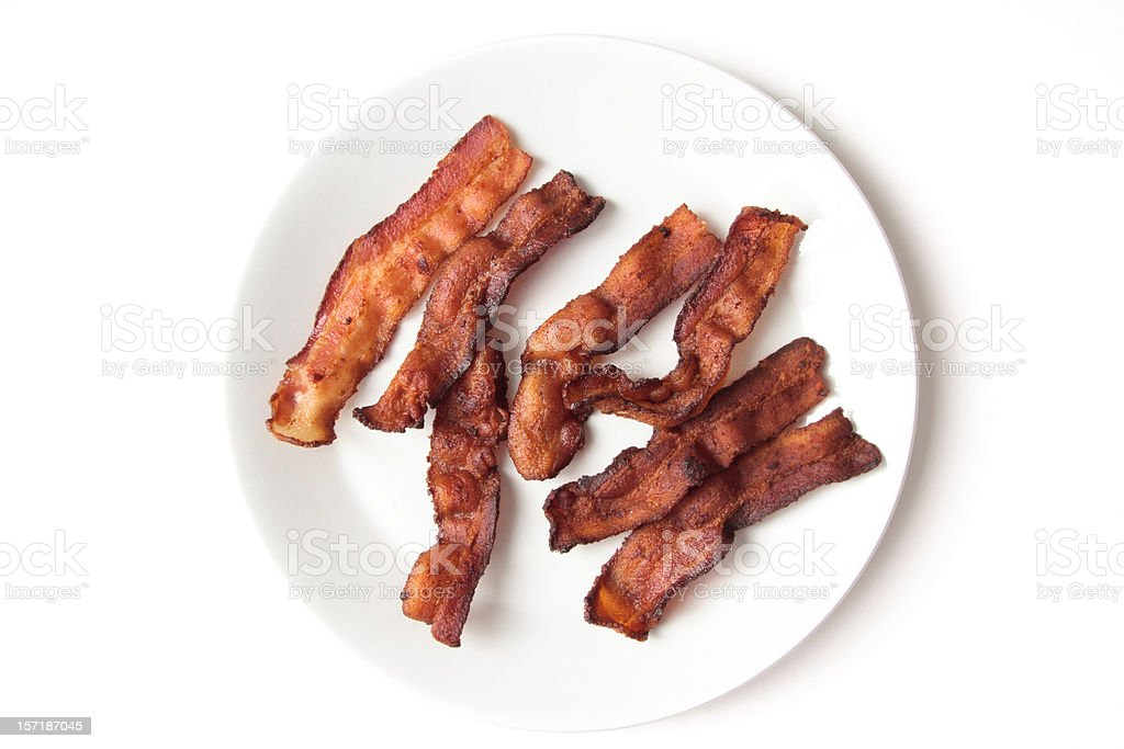 Crispy Fried Bacon Strips stock photo