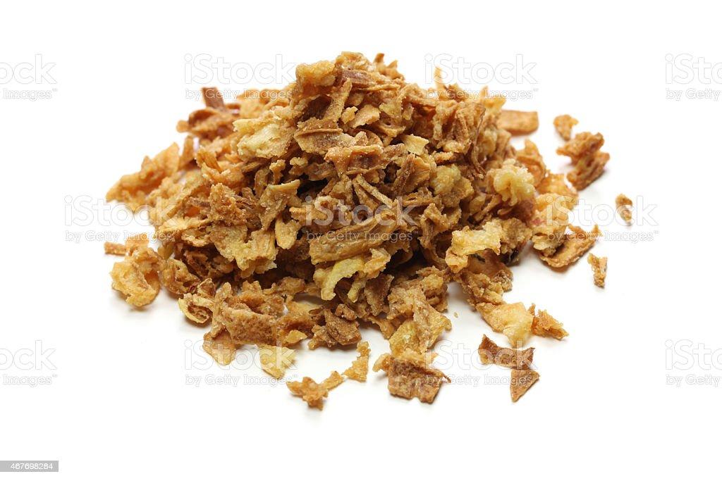 crispy fried onion flakes stock photo