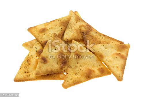 A serving of pita crispy snack crackers isolated on a white background.