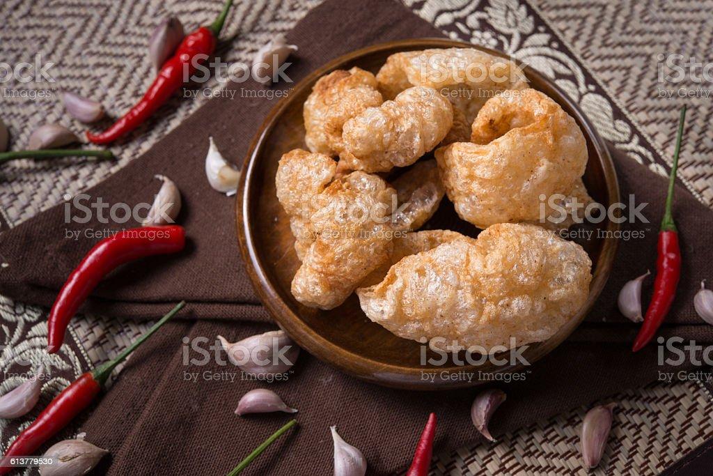 Crispy Pork Skin,asia style food. stock photo