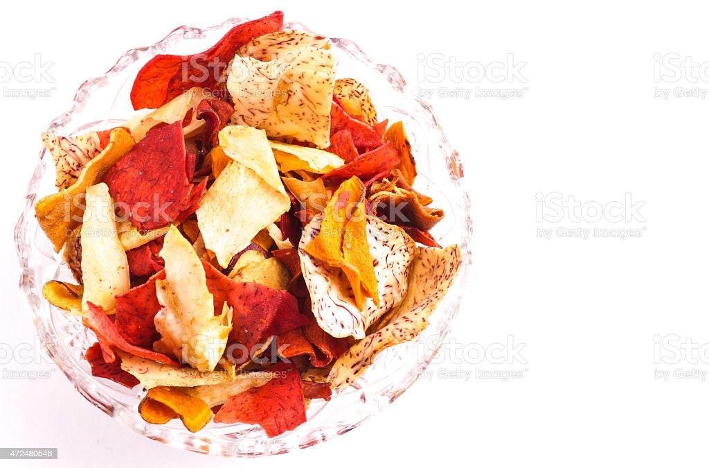 Crispy Root Vegetable chips stock photo