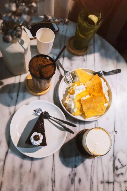Crispy Roti with Thai Sweet and Whipped Cream stock photo