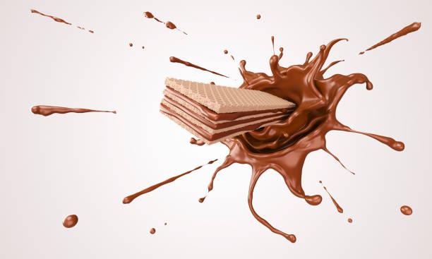 knapperige wafel - chocoladesaus stockfoto's en -beelden