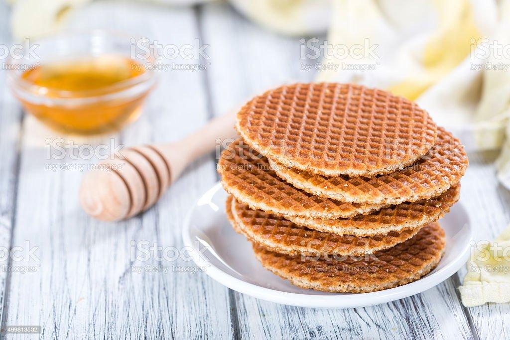 Gaufres croustillantes avec du miel - Photo