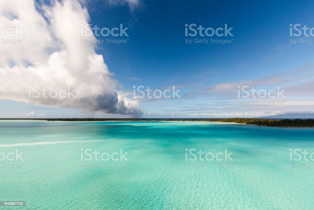 Cristal Clear Turquoise Water in Bora stock photo