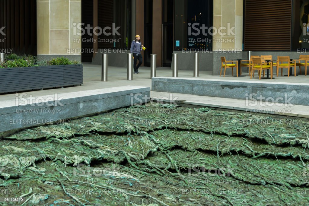 Cristina Iglesias water feature, entitled Tres Aguas, meaning three waters, at the base of Bloomberg HQ, City of London, England, UK stock photo