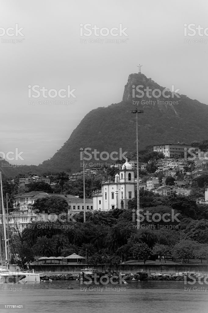 Cristo Redentor as seen from a boat royalty-free stock photo
