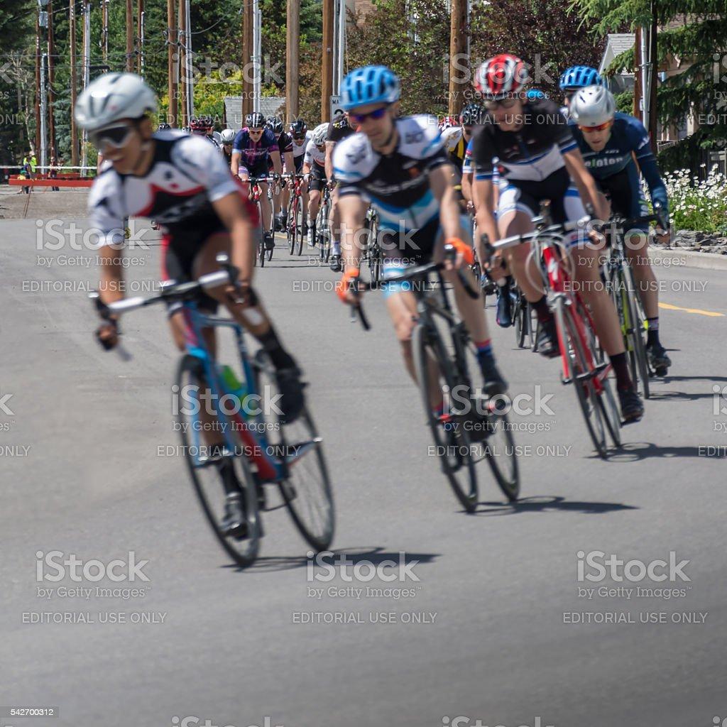 Criterium Road Bike Race in Canmore Canada stock photo