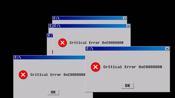 Critical error. Old interface design Critical error. Old interface design. 3D rendering error message stock pictures, royalty-free photos & images