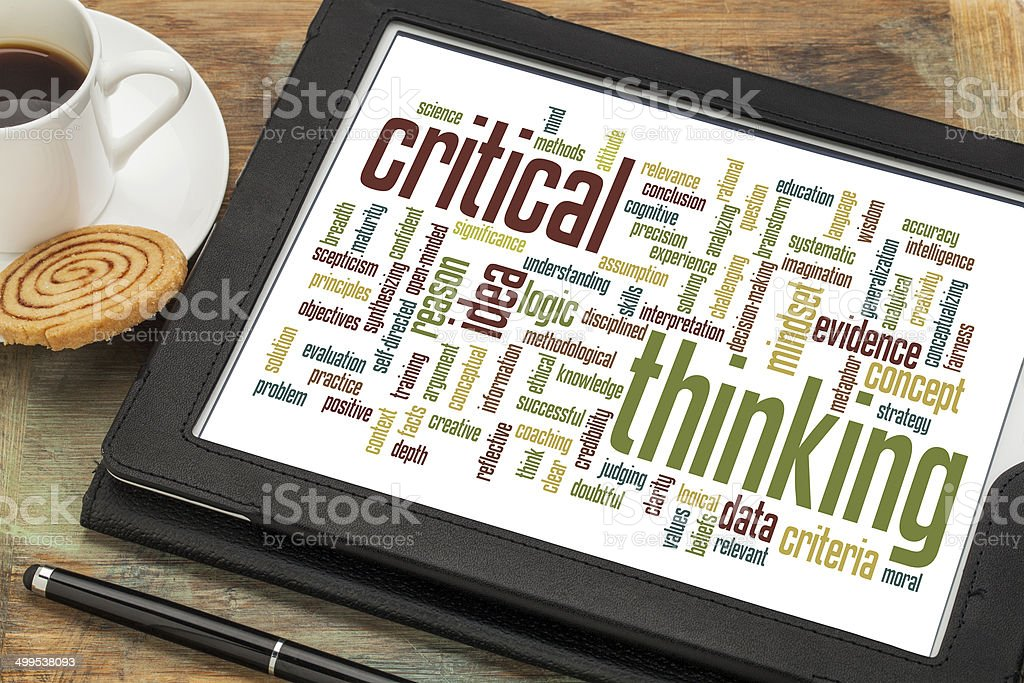 critical thinking word cloud stock photo