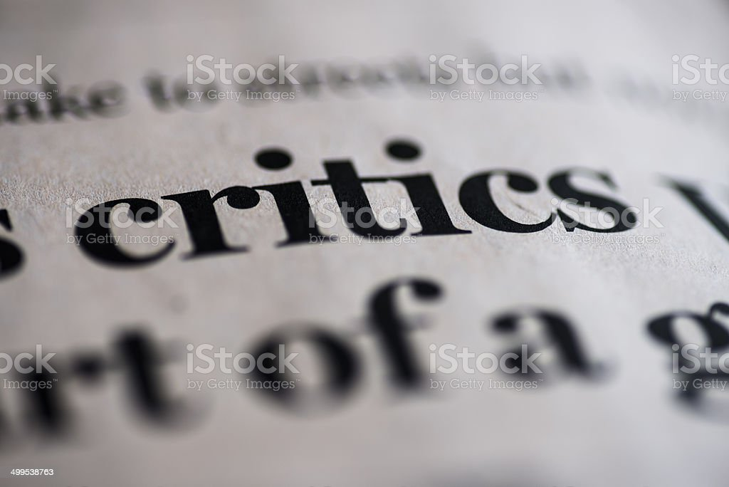 Critics stock photo