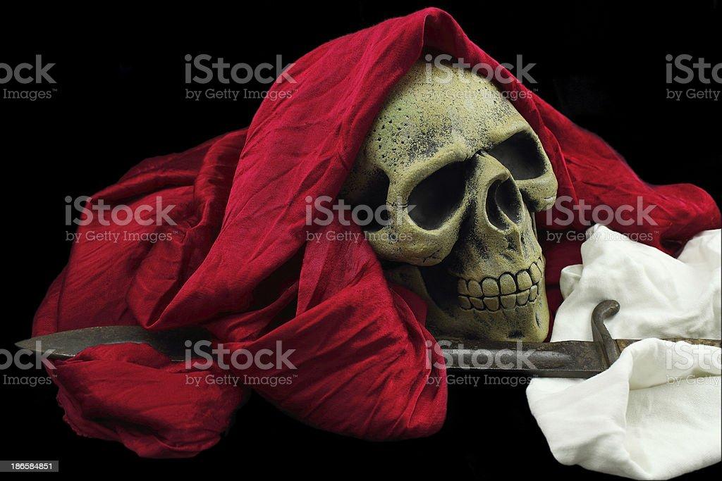Crâne drapé et baïonnette halloween royalty-free stock photo