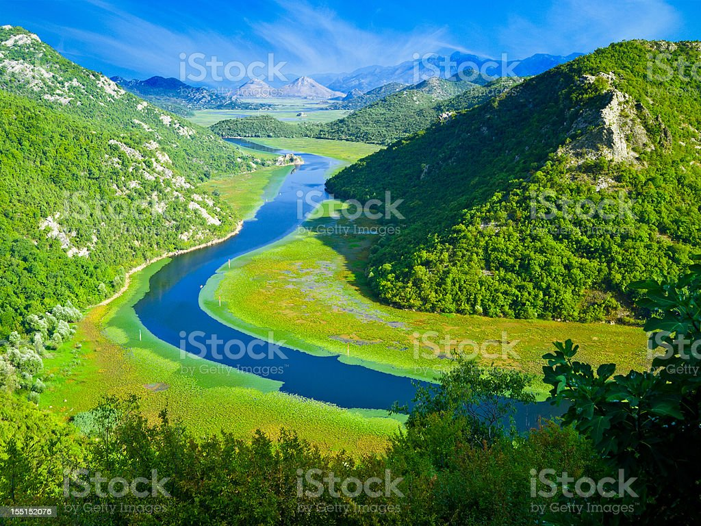 Crnojevic River, Lake Skadar National Park, Montenegro, Europe stock photo