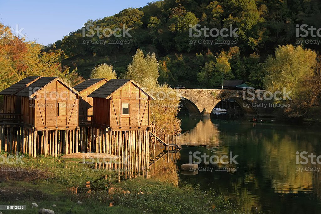 Crnojevica river and small village, Montenegro stock photo