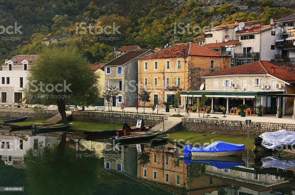 Crnojevica village on the river, Montenegro stock photo