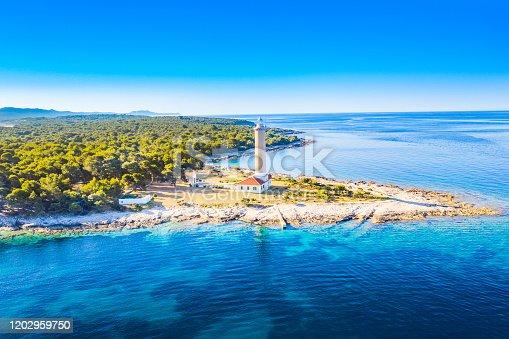 istock Croatia, Adriatic coastline, aerial view of lighthouse of Veli Rat on the island of Dugi Otok 1202959750