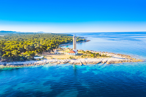 istock Croatia, Adriatic coastline, aerial view of lighthouse of Veli Rat on the island of Dugi Otok 1202959750