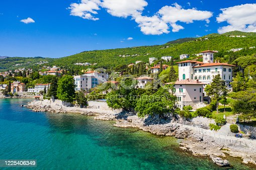 Croatia, beautiful Opatija riviera on Adriatic coast, aerial panoramic view in Kvarner bay coastline