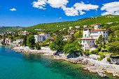 Croatia, beautiful Opatija riviera on Adriatic coast, aerial panoramic view in Kvarner bay coastline