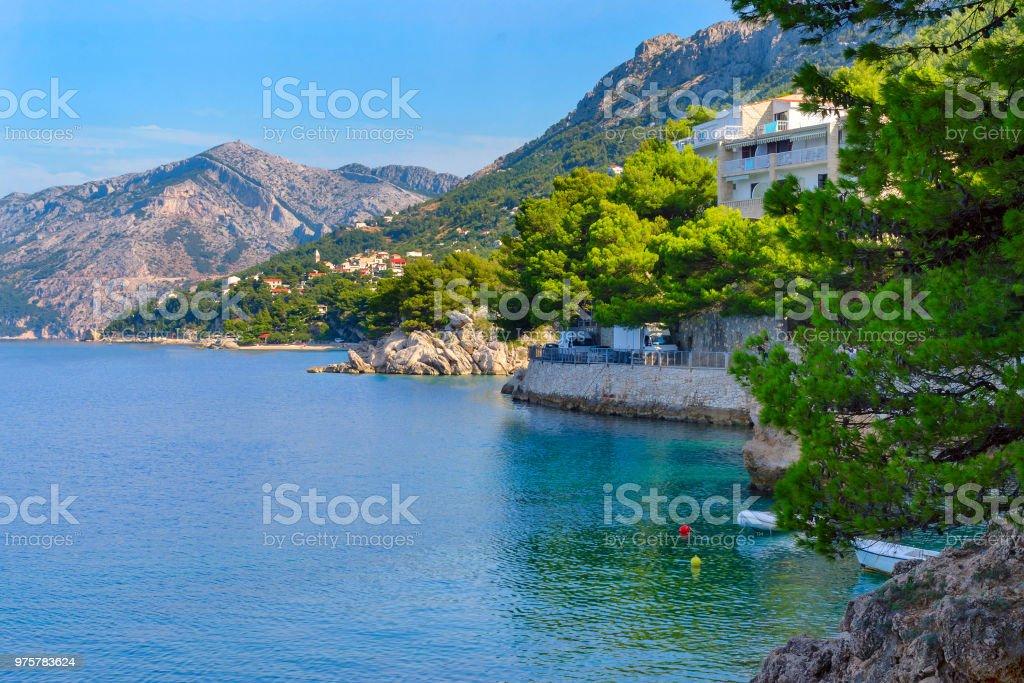 Kroatien Brela Seascape, Adria, Dalmatien im Sommer - Lizenzfrei Ankunft Stock-Foto
