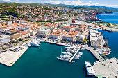 Croatia, city of Rijeka, aerial panoramic view of city center, marina and harbor from drone