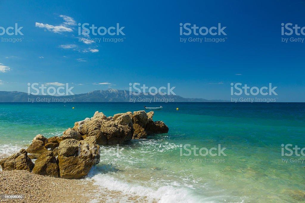 Chorwacja Dalmacja, Adriatyckiego tle beach – zdjęcie