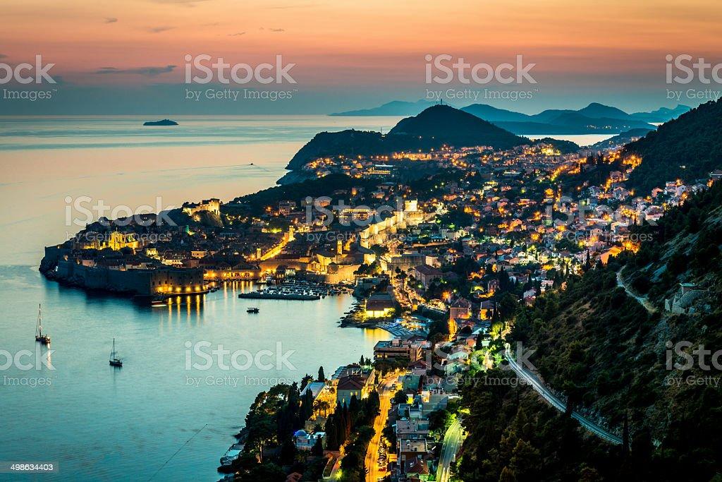 Croatia Dubrovnik at Night stock photo