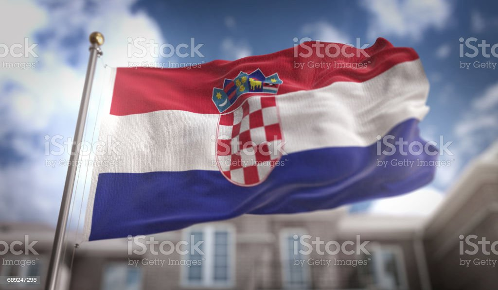 Croatia Flag 3D Rendering on Blue Sky Building Background stock photo