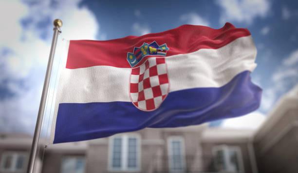 Croácia bandeira de renderização 3D em fundo azul céu edifício - foto de acervo