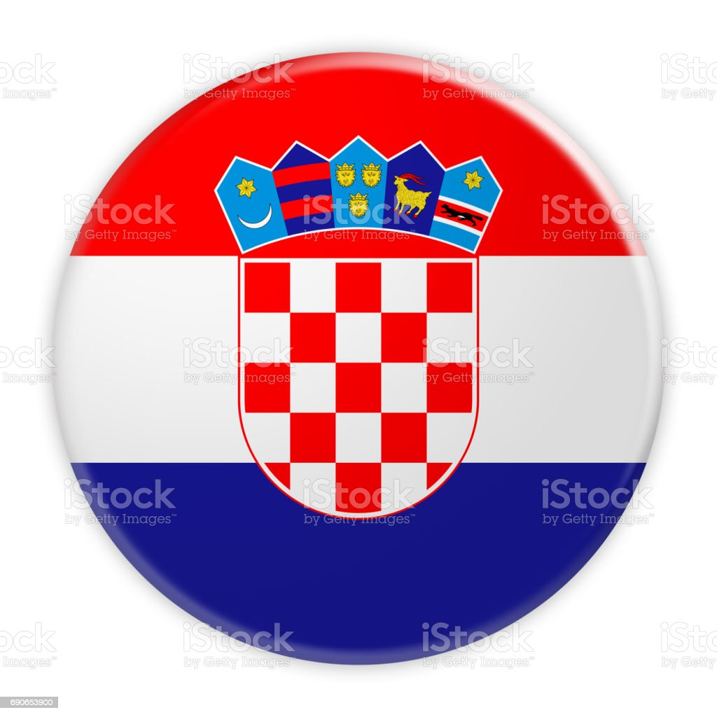 Croatia Flag Button, News Concept Badge, 3d illustration on white background stock photo