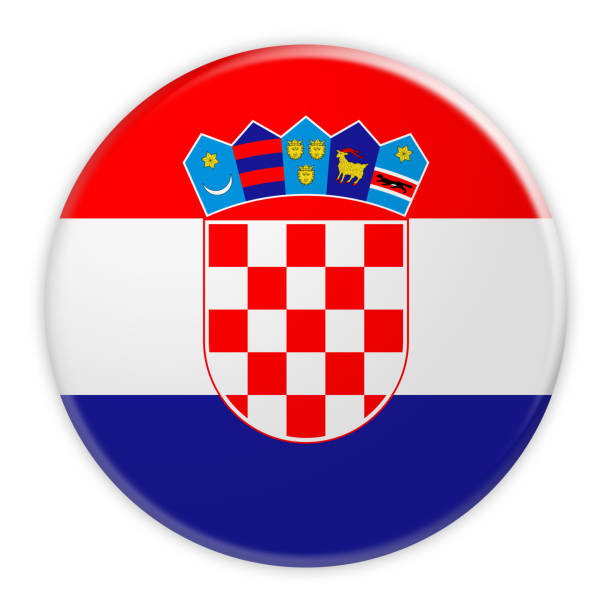Botón de bandera Croacia, noticias concepto divisa, Ilustración 3d sobre fondo blanco - foto de stock