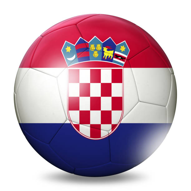 Balón de fútbol de fútbol de bandera de Croacia - foto de stock