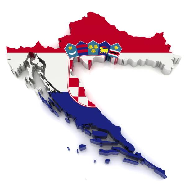 Mapa bandera de croacia - foto de stock