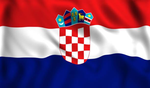 Bandera de Croacia ondeando en el viento - foto de stock
