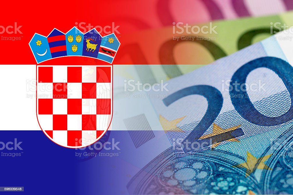 croatia flag with euro banknotes royalty-free stock photo