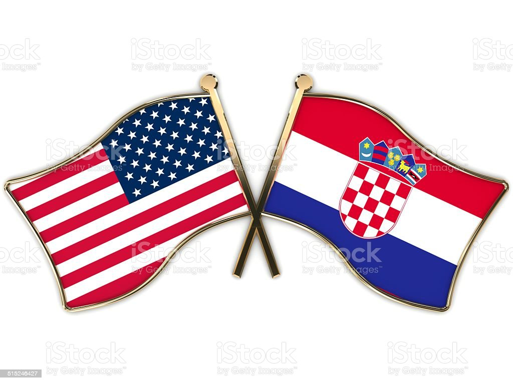 USA la Croazia Flags Badge - foto stock
