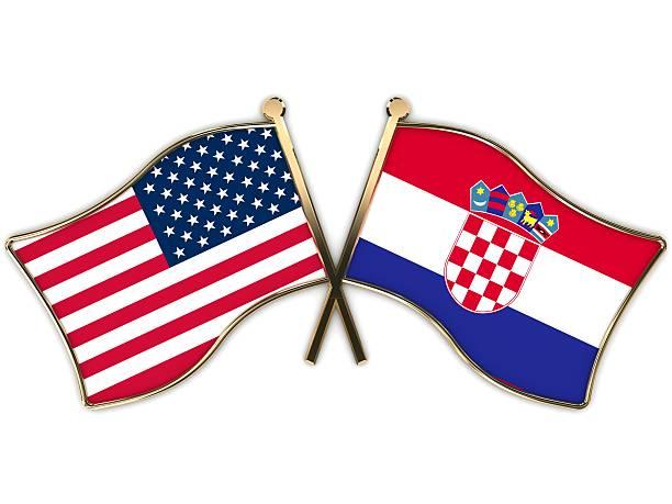 Escudo EUA, Croácia Flags - foto de acervo