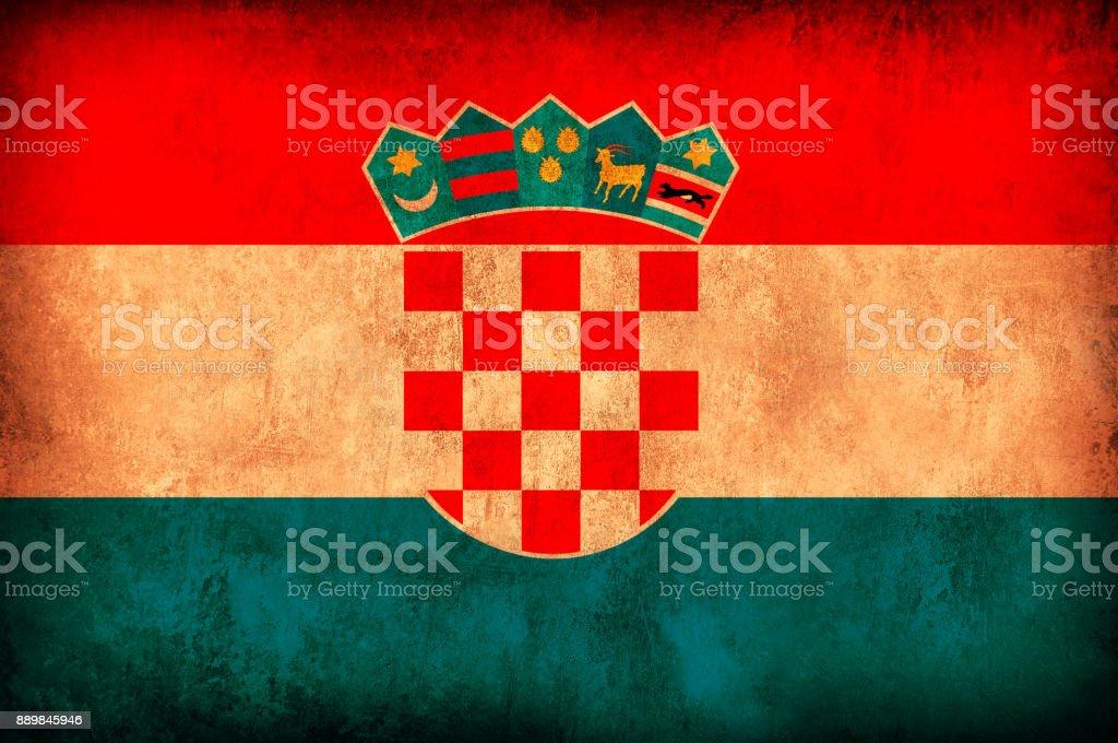 Croatia Grunge Flag stock photo