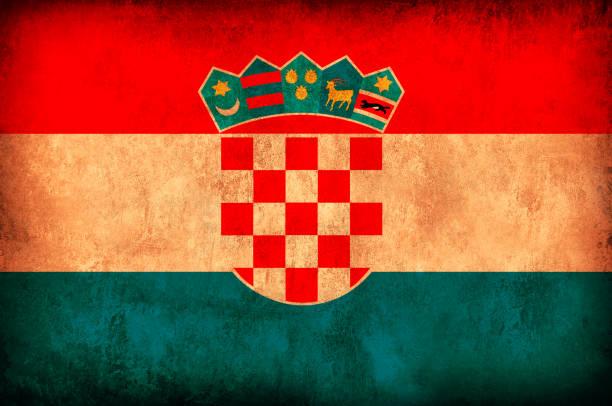Bandera del Grunge de Croacia - foto de stock