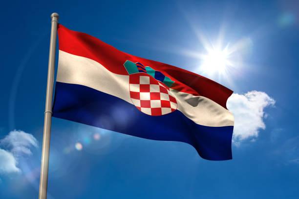 Bandera Nacional de Croacia en el asta de la bandera - foto de stock