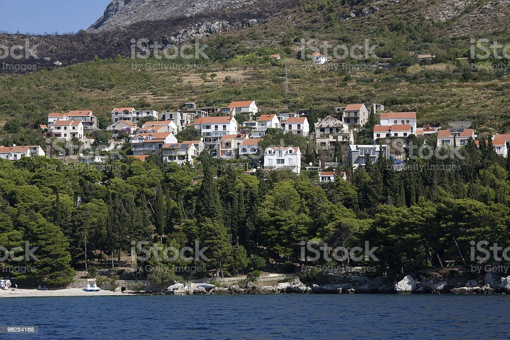 Croatia shoreline  between Plat and Dubrovnik from bay. royalty-free stock photo