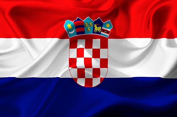 Bandera de croacia Saludar con la mano - foto de stock